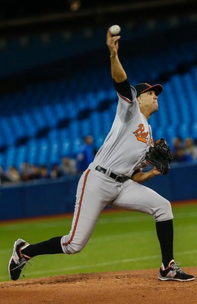 Baltimore Orioles pitcher Ubaldo Jimenez delivers against the Toronto Blue Jays on April 22. (Dave Thomas/Toronto Sun/Postmedia Network)