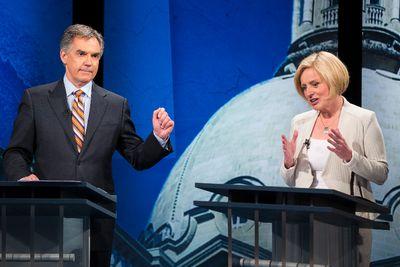 Progressive Conservative leader Jim Prentice (left) and Alberta NDP leader Rachel Notley debate during the Election 2015 Leaders' Debate at Global Edmonton in Edmonton, Alta., on Thursday, April 23, 2015. Ian Kucerak/Edmonton Sun/Postmedia Network
