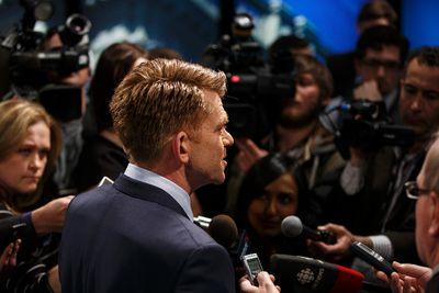 Wildrose Party leader Brian Jean speaks with the press after the Election 2015 Leaders' Debate at Global Edmonton in Edmonton, Alta., on Thursday, April 23, 2015. Ian Kucerak/Edmonton Sun/Postmedia Network