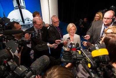 Alberta NDP leader Rachel Notley speaks with the press after the Election 2015 Leaders' Debate at Global Edmonton in Edmonton, Alta., on Thursday, April 23, 2015. Ian Kucerak/Edmonton Sun/Postmedia Network