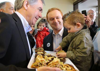 Alberta Premier Jim Prentice at Byblos Bakery in Calgary