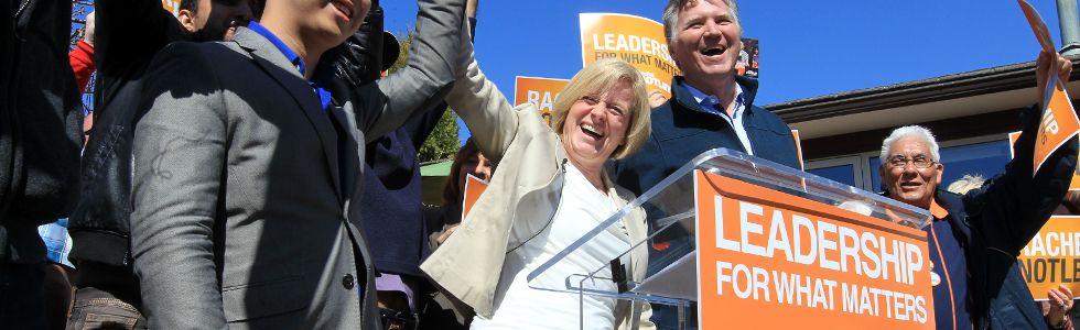 Rachel Notley cheers after making a speech in Edmonton.