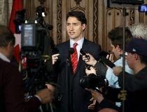 Justin Trudeau media scrum
