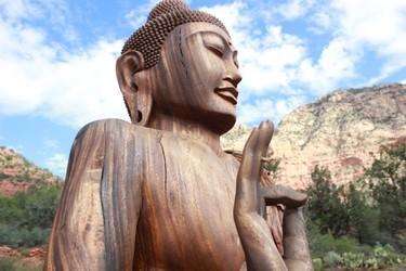 Statue of Buddha at Sedona's Amitabha Stupa and Peace Park, where all faiths are welcome. NICOLE HANN PHOTO