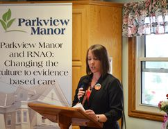 Teresa Tibbo, the BPSO representative speaking at Chesley Parkview Manor on May 13.