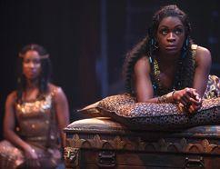 Yanna McIntosh as Cleopatra with Sophia Walker as Charmian. David Hou/Stratford Festival