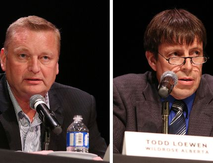 From left, MLA for Grande Prairie-Wapiti, Wayne Drysdale and MLA for Grande Prairie-Smoky, Todd Loewen. DHT File.