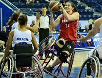 Londoner Darda Sales at the 2014 Women's World Wheelchair Basketball Championship in Toronto (photo courtesy Wheelchair Basketball Canada).