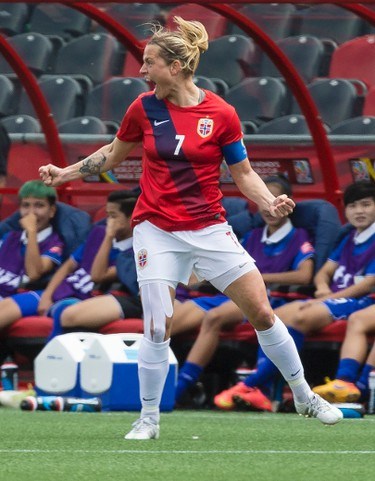 Norways Trine Bjerke Ronning celebrates scoring her teams first goal against Thailand in action at the FIFA Women's World Cup Canada 2015 at Lansdowne Stadium in Ottawa on Sunday June 7, 2015. Errol McGihon/Ottawa Sun/Postmedia Network