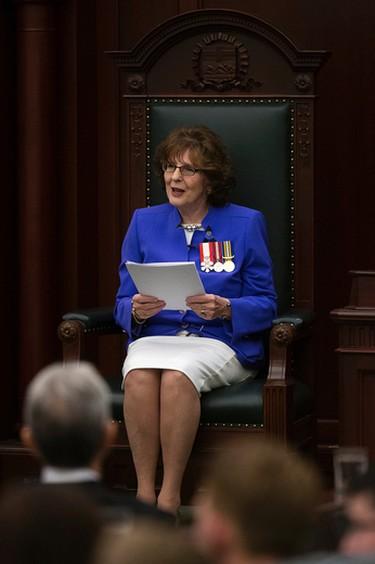 The eighteenth Lieutenant Governor of Alberta Lois Mitchell takes part in her installation ceremony at the Alberta Legislature, in Edmonton Alta. on Friday June 12, 2015. David Bloom/Edmonton Sun/Postmedia Network
