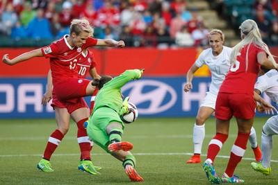 Canada's goalkeeper Erin McLeod (1) makes a save against New Zealand during a FIFA Women's World Cup 2015 match at Commonwealth Stadium in Edmonton, Alta., on Thursday June 11, 2015. Ian Kucerak/Edmonton Sun/Postmedia Network