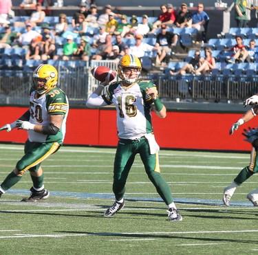 Edmonton Eskimos quarterback Matt Nichols attempts a pass in the pocket in Fort McMurray Alta. on Saturday June 27, 2015. Robert Murray/Fort McMurray Today/Postmedia Network