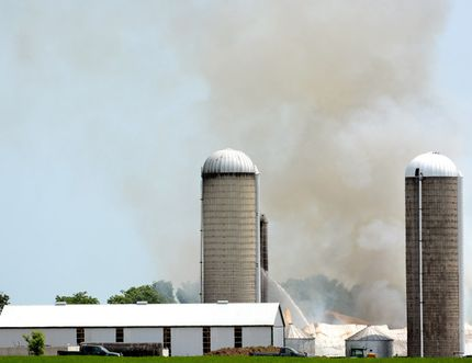 Fire at Skylane Holsteins farm northeast of Stratford, July3, 2015