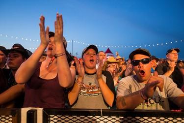 Fans applaud as Mark Chesnutt performs in the Molson Canadian Saloon during Big Valley Jamboree 2015 in Camrose, Alta. on Thursday July 30, 2015. Ian Kucerak/Edmonton Sun/Postmedia Network