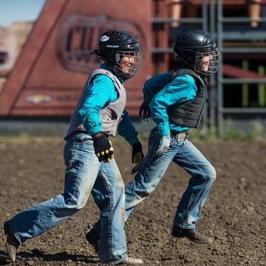 The Roland Jones team competes in the wild pony race during Bulls For Breakfast at Big Valley Jamboree 2015 in Camrose, Alta. on Friday July 31, 2015. Ian Kucerak/Edmonton Sun/Postmedia Network