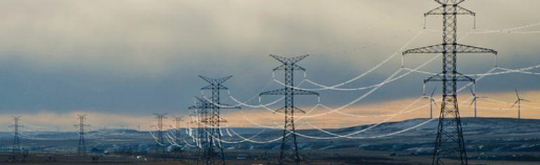 Transmission lines southeast of Pincher Creek, Alta. John Stoesser photo/Pincher Creek Echo.