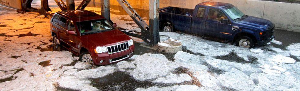 Downtown Calgary hailstorm flooding
