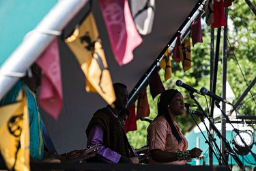 Bassekou Kouyate and Ngoni Ba perform at Stage 1 during the Edmonton Folk Music Festival at Gallagher Park in Edmonton, Alta. on Saturday, Aug. 8, 2015. Codie McLachlan/Edmonton Sun/Postmedia Network