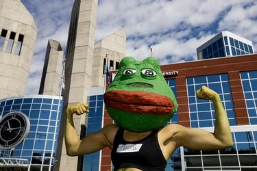 Chika Thompson poses for a photo as the meme character Pepe during Animethon at MacEwan University, in Edmonton Alta. on Saturday Aug. 8, 2015. The animation themed festival continues Sunday. David Bloom/Edmonton Sun/Postmedia Network