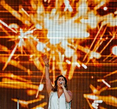 Hillary Scott of Lady Antebellum performs on the main stage during Big Valley Jamboree 2015 in Camrose, Alta. on Sunday August 2, 2015. Ian Kucerak/Edmonton Sun/Postmedia Network