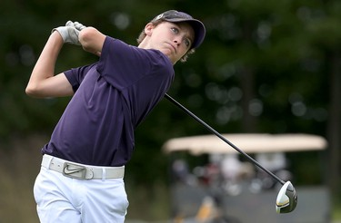 Hunter McGee tees off during the Ottawa Sun Scramble City Championship at Grey Hawk Golf Club in Ottawa Ontario Friday Aug 28, 2015. Friday's golfers took part in the Senior Open.  Tony Caldwell/Ottawa Sun/Postmedia Network