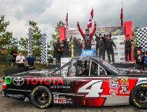 Erik Jones celebrates after winning the Chevrolet Silverado 250 at Canadian Tire Motorsport Park yesterday. John Walker/photo