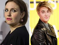 (L-R) Lena Dunham and Justin Bieber. (Reuters file photos)