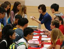 International students attending Upper Canada District School Board schools this year get registered en masse in the Brockville Collegiate Institute gymnasium on Wednesday.