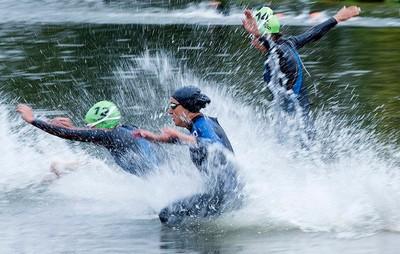 Triathletes train for the 2015 ITU World Triathlon Edmonton in Hawrelak Park, in Edmonton Alta. on Friday Sept. 4, 2015. David Bloom/Edmonton Sun/Postmedia Network