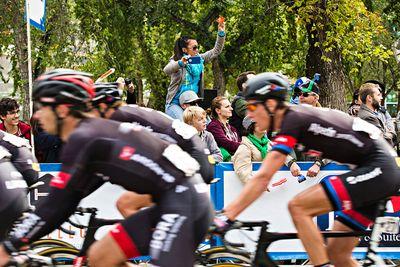 A fan takes photos as the peloton crosses the finish line during the final stage of the Tour of Alberta in Edmonton, Alta. on Monday, Sept. 7, 2015. Codie McLachlan/Edmonton Sun/Postmedia Network