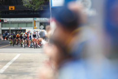 The peloton approaches the finish line during the Tour of Alberta final in Edmonton, Alta., on Monday September 7, 2015. Bauke Mollima with Trek Factory Racing won the race and Cannondale-Garmin took the team title. Ian Kucerak/Edmonton Sun/Postmedia Network