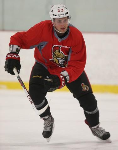 The Ottawa Senators rookies practiced at the Bell Sensplex in Ottawa Ontario Thursday Sept 10, 2015. Senators forward Tobias Lindberg skates during practice Thursday morning.  Tony Caldwell/Ottawa Sun/Postmedia Network