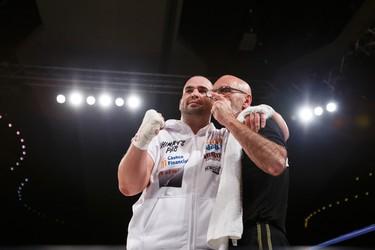 Paul MacKenzie (left) of Edmonton fights Emile Arsenault of Shediac, N.B., during a KO Boxing card at the Shaw Conference Centre in Edmonton, Alta., on Friday September 11, 2015. Ian Kucerak/Edmonton Sun/Postmedia Network