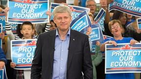 Conservative Leader Stephen Harper speaks to supporters Sunday,  Sept. 13, 2015  in Stittsville, Ont. THE CANADIAN PRESS/Ryan Remiorz