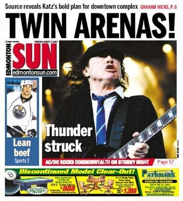 Edmonton Sun cover, Aug. 27, 2009