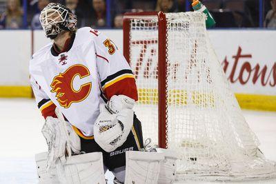 Edmonton Oilers' Andrew Miller shot beats Calgary Flames' goalie Karri Ramo during the first period of a pre-season NHL game at Rexall Place in Edmonton, Alta. on Monday September 21, 2015. Ian Kucerak/Edmonton Sun/Postmedia Network