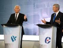 Bloc Quebecois Leader Gilles Duceppe and Conservative Leader Stephen Harper