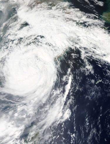 This Sept. 29, 2015 NASA satellite photo shows super typhoon Dujuan over China and Taiwan. (AFP PHOTO/NASA)