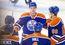 Edmonton Oilers' Leon Draisaitl (29), Andrew Ference (21), Connor McDavid (97), Taylor Hall (4) and Nikita Nikitin