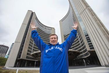 Toronto Mayor John Tory poses at City Hall in Toronto Tuesday October 6, 2015 as a Blue Jays flag was raised. (Ernest Doroszuk/Toronto Sun)