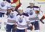 Edmonton Oilers Jordan Eberle #14, Ryan Nugent-Hopkins #93 and Taylor Hall #4