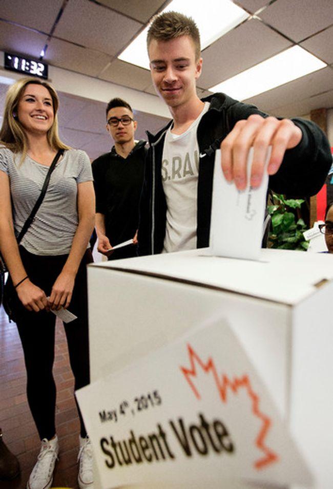 Sebastian Wolski casts his ballot during a mock election in May. DAVID BLOOM Postmedia Network