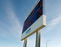 The new scoreboard at the CKC West Field on Thursday October 8, 2015 in Grande Prairie, Alta. Tom Bateman/Grande Prairie Daily Herald-Tribune/Postmedia Network