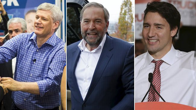 Stephen Harper, Thomas Mulcair and Justin Trudeau. (REUTERS)