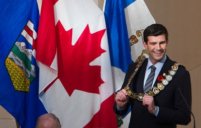 Mayor Don Iveson is sworn in at City Hall in Edmonton, Alta. on Tuesday, Oct. 29, 2013.  Amber Bracken/Edmonton Sun/QMI Agency