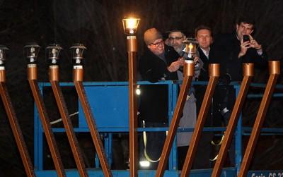 (left to right) Edmonton City Councillor Michael Oshry, Rabbi Ari Drelich, MLA Thomas Lukaszuk, and Edmonton Mayor Don Iveson take part in the Chanukah Menorah lighting ceremony at the Alberta Legislature, in Edmonton Alta., on Sunday Dec. 1, 2013. David Bloom/Edmonton Sun/QMI Agency