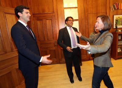 Premier Alison Redford (r) met with Calgary Mayor Naheed Nenshi (c) and Edmonton Mayor Elect Don Iveson at the Alberta Legislature in Edmonton. Alberta on Saturday, Oct 26, 2013.  PERRY MAH/Edmonton Sun/QMI Agency
