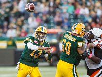 Edmonton Eskimos play the B.C. Lions at Commonwealth Stadium