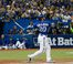 Toronto Blue Jays third baseman Josh Donaldson hits a two run homer against the Kansas City Royals during game three of the American League Championship Series