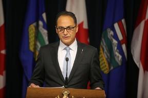 Alberta Finance Minister Joe Ceci speaks to the media on the budget at the Alberta Legislature in Edmonton, Alberta on October 21, 2015. Perry Mah/Edmonton Sun/Postmedia Network